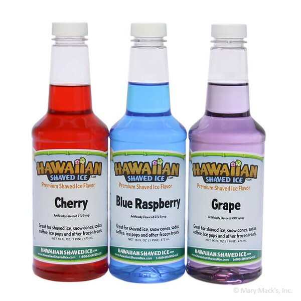 Shaved Ice and Snow Cone Syrups, 3-Flavors by Hawaiian Shaved Ice