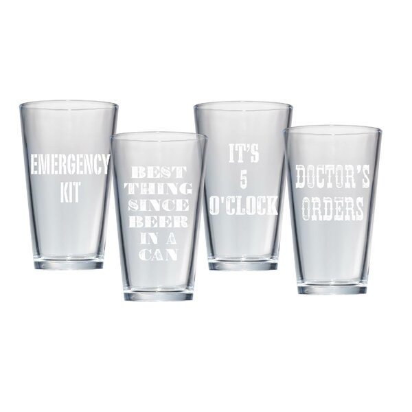 4 Piece 15 Oz. Beer Pub Glass Set by Artland