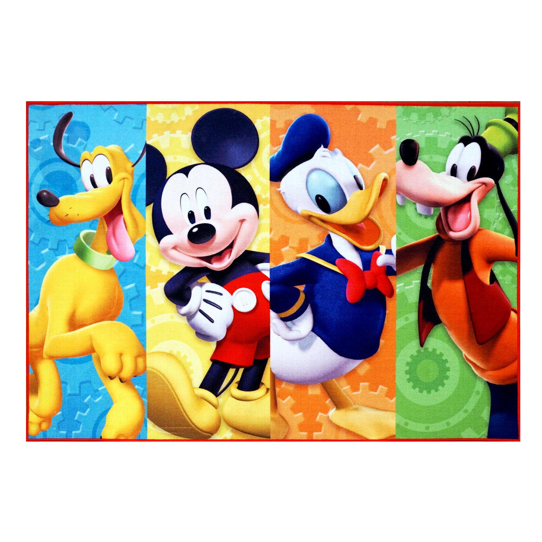 Disney Mickey Mouse Polyester Blue Yellow Orange Kids Rug