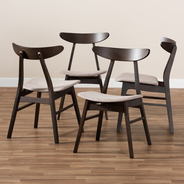 Tamsin Solid Wood Ladder back Side chair in Dark brown (Set of 4) by Foundry Select Foundry Select