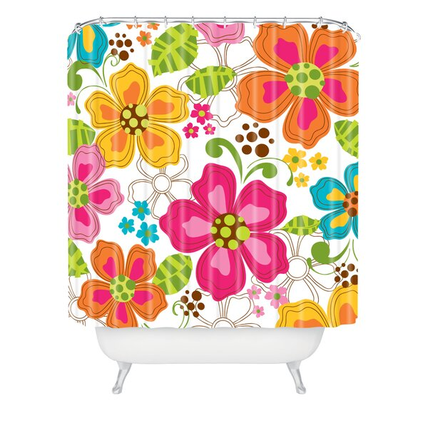 Rene Blooms Extra Long Shower Curtain by Latitude Run