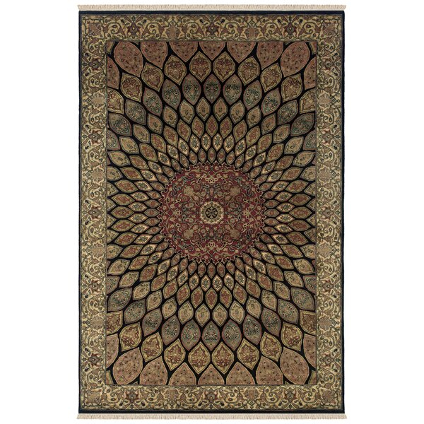 Vadnagar Hand-Knotted Black Area Rug by Meridian Rugmakers