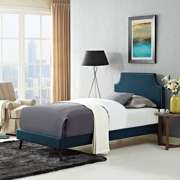 Ayala Twin Vinyl Platform Bed with Round Splayed Legs by Trule Teen