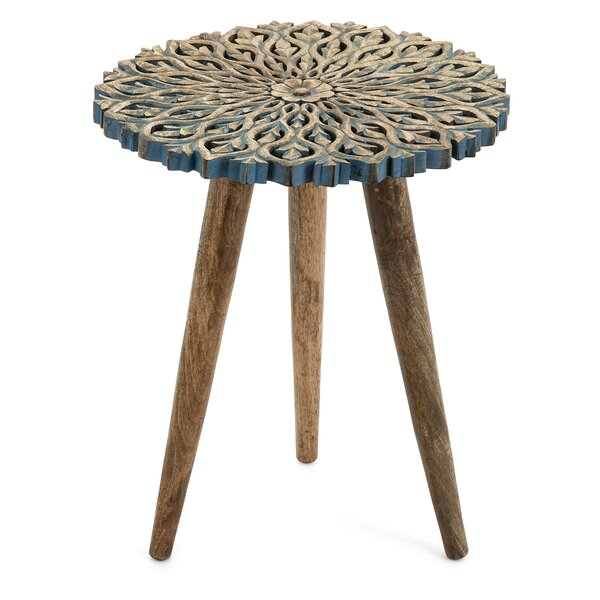Deals Price Camellia Carved End Table