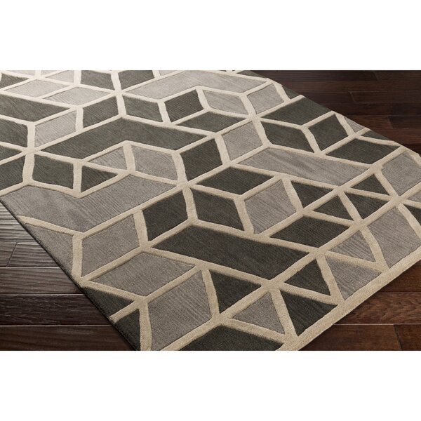 Vaughan Hand-Tufted Gray Wool Area Rug by Wrought Studio