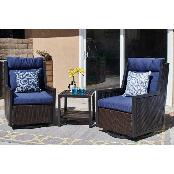 Solley Outdoor 3 Piece Seating Group with Cushions