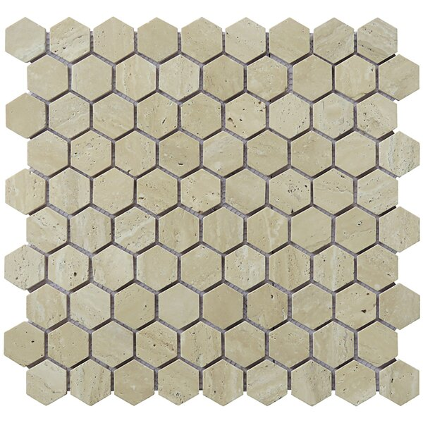 Hexagon 12 x 12.5 Travertine Natural Stone Mosaic Tile in Tan by Intrend Tile