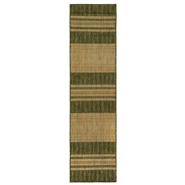Desantiago Stripe Green/Brown Indoor/Outdoor Area Rug by Highland Dunes
