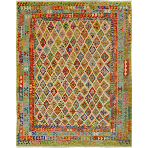 One-of-a-Kind Aalborg Handmade Kilim Wool Green/Ivory Area Rug by Isabelline
