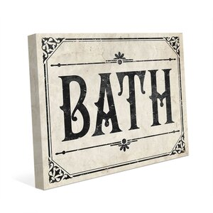 'Rustic Bath Paper' Textual Art on Wrapped Canvas by Click Wall Art