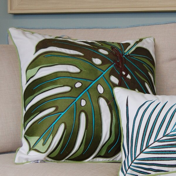 I Sea Life Coastal Monstera Palm and Lizard Outdoor Sunbrella Throw Pillow by Rightside Design