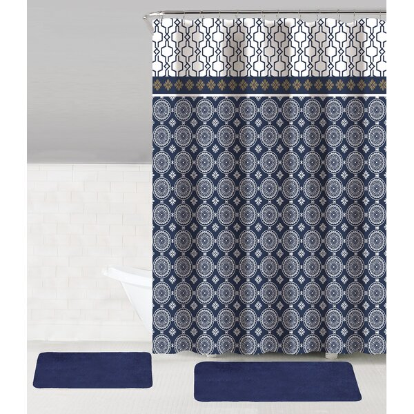 Austin 15 Piece Shower Curtain Set + Hooks