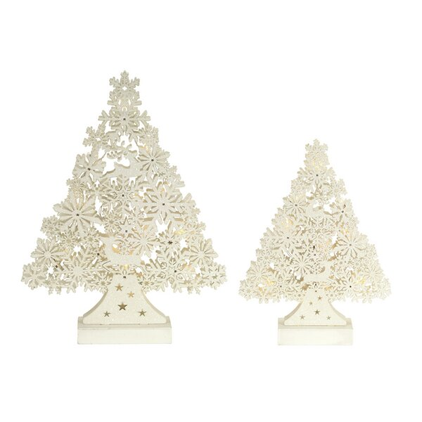 2 Piece Snowflake and Deer Wood Tree Set by The Holiday Aisle