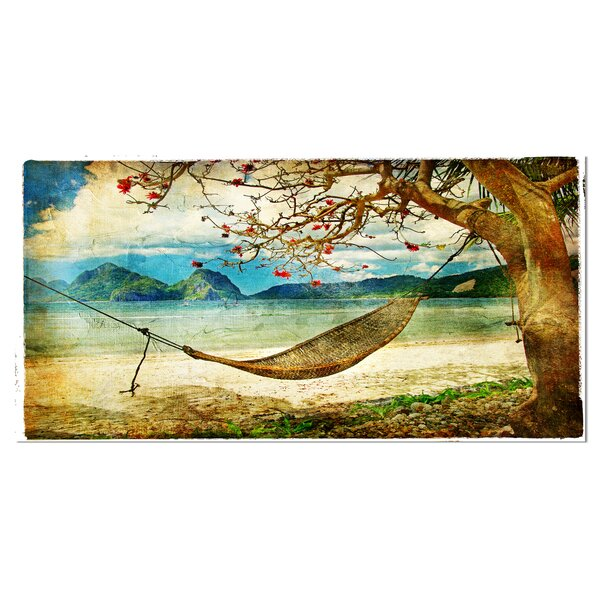 Tropical Sleeping Swing Digital Landscape Graphic Art on Wrapped Canvas by Design Art