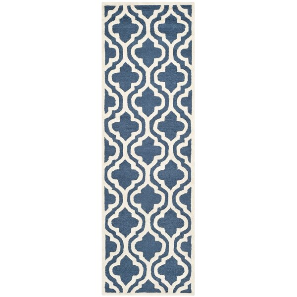 Darla Hand-Tufted Wool Navy/Ivory Area Rug by Winston Porter