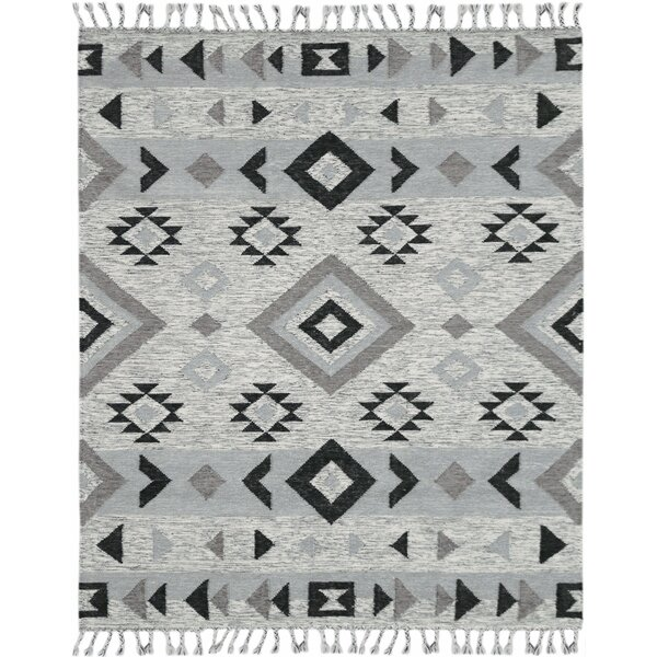 Oneil Handmade Kilim Wool Silver Area Rug by Union Rustic