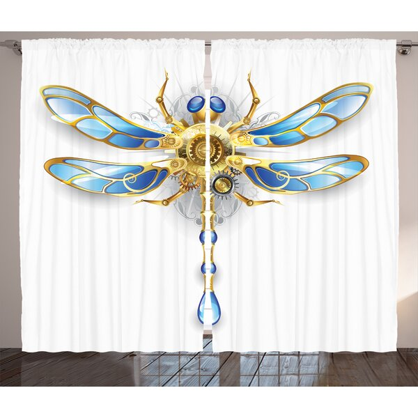 Elias Country Graphic Print & Text Semi-Sheer Rod Pocket Curtain Panels (Set of 2) by Ivy Bronx