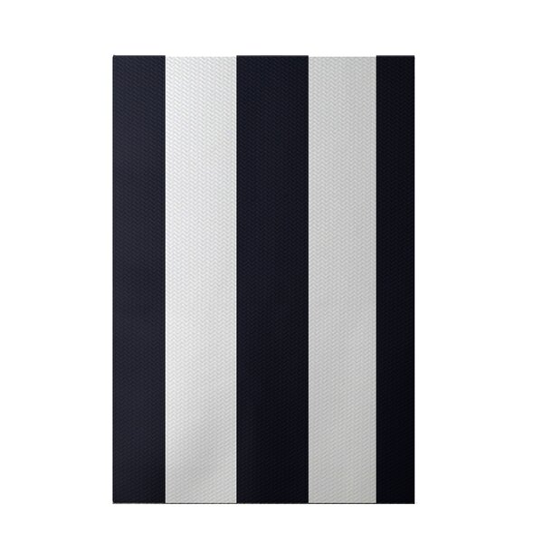 Caymen Stripe Print Navy Blue Indoor/Outdoor Area Rug by Breakwater Bay
