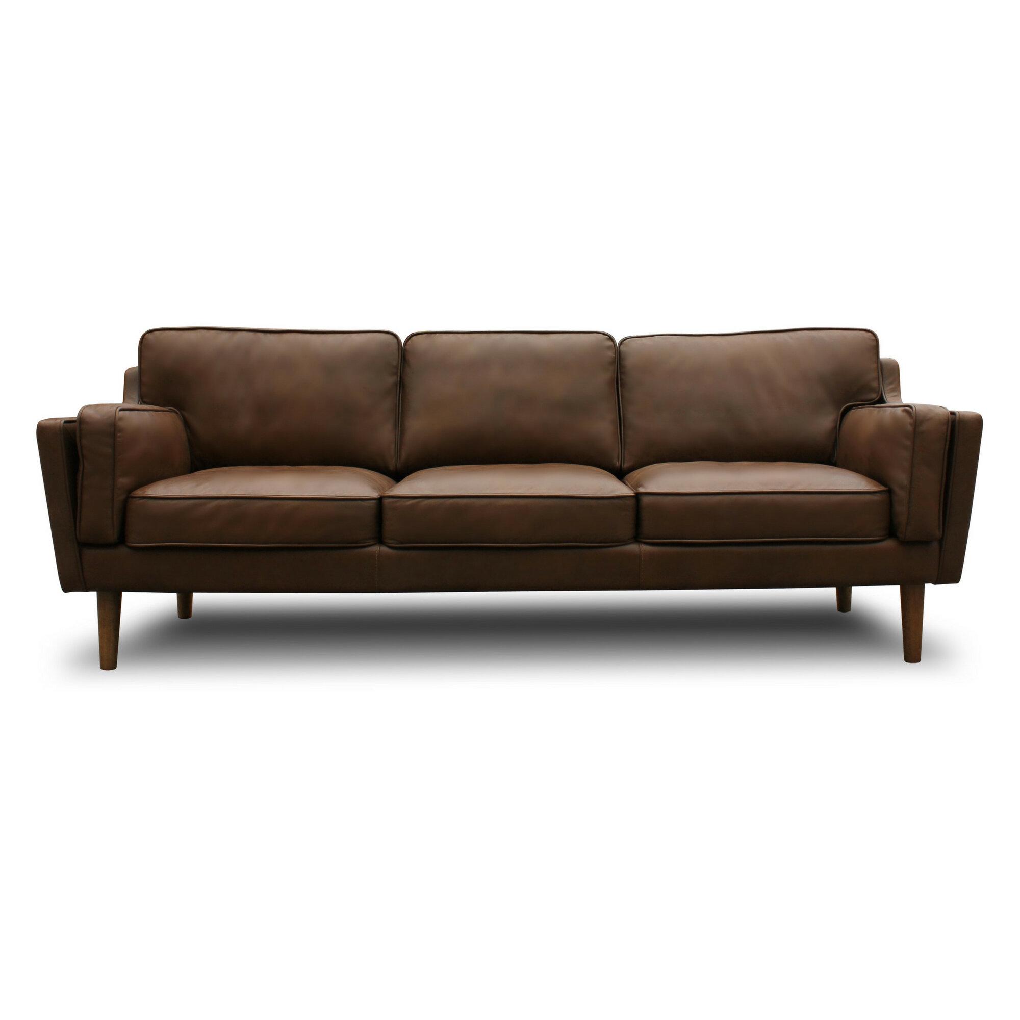 Union Rustic Kaufman Mid Century Modern Leather Sofa & Reviews | Wayfair