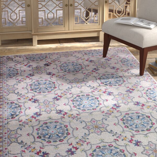 Goldie Ivory Floral Area Rug by Bungalow Rose