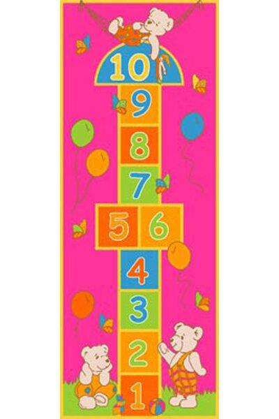 Playful Hopscotch Pink Area Rug by Sintechno