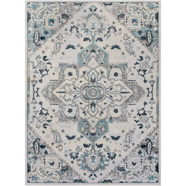 Neppie Distressed Pale Blue/Dark Blue Area Rug by Bungalow Rose