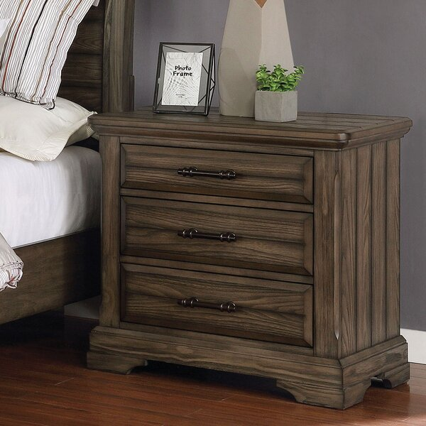 Mammie 3 Drawer Nightstand by Loon Peak