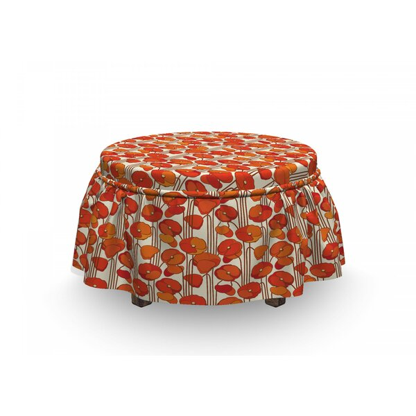 Floral Poppies Retro Spring 2 Piece Box Cushion Ottoman Slipcover Set By East Urban Home