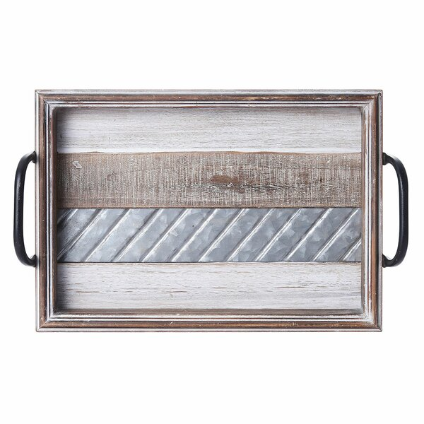 Bellingham Rustic Stripe MDF Wood Ottoman Tray By Foundry Select by Foundry Select Wonderful