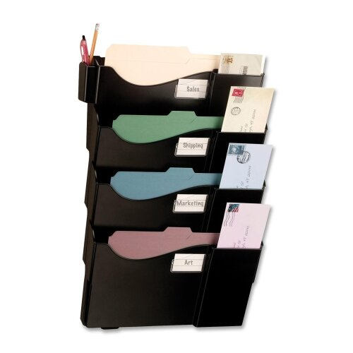 Starter Filing System,w/4-Pockets,16-5/8x4-3/4x23-1/2,BK by Officemate International Corp
