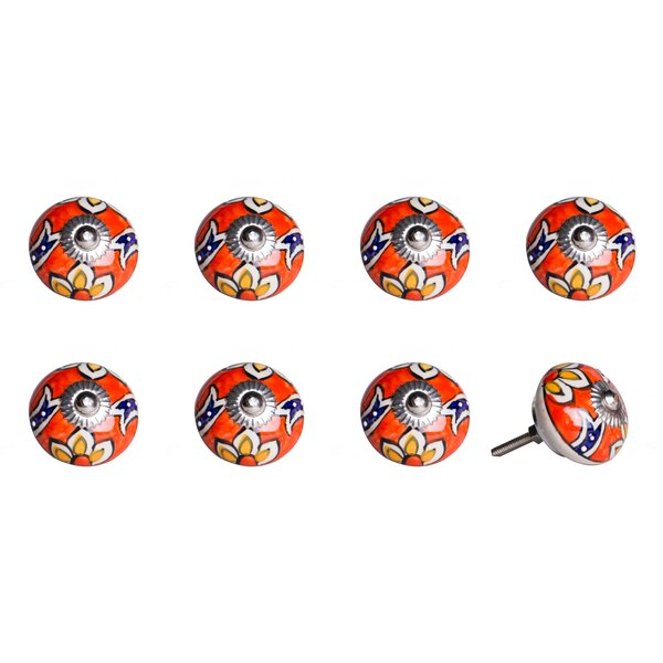 Handpainted Ceramic Round Knob (Set of 8) by Taj Hotel