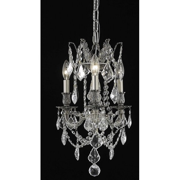 Utica 3 - Light Candle Style Classic / Traditional Chandelier with Crystal Accents by Astoria Grand Astoria Grand
