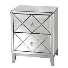 2 Drawer Mirrored End Table by Worlds Away