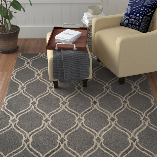 Garrison Hand-Tufted Dark Gray/Ivory Area Rug by Winston Porter