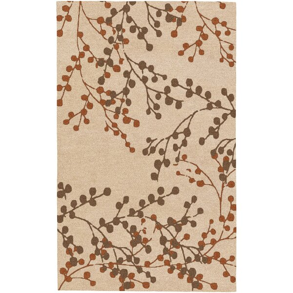 Dedrick Hand-Tufted Wool Champagne/Brick Area Rug by Darby Home Co