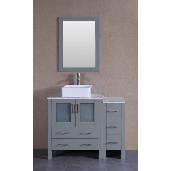 Vienna 42 Single Bathroom Vanity Set with Mirror by Bosconi