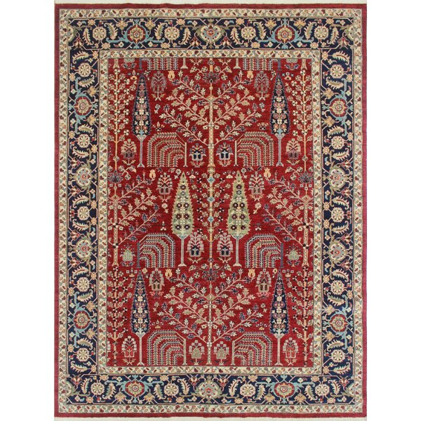 One-of-a-Kind Altom Hand-Knotted Wool Red Area Rug by Isabelline