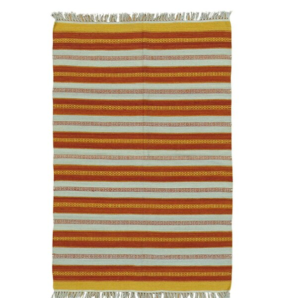 Flat Weave Reversible Durie Kilim Hand-Knotted Red/Ivory Area Rug by Bloomsbury Market