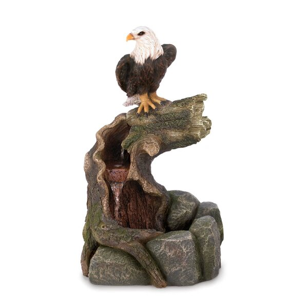 Stone Powder, Resin and Glass Majestic Eagle Water Fountain by Zingz & Thingz
