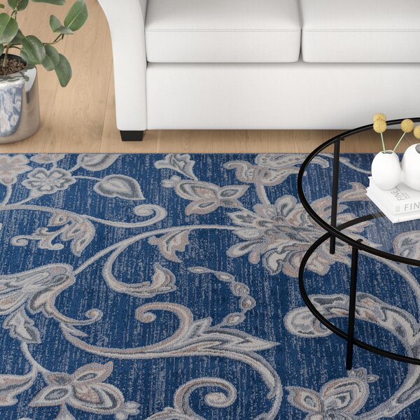 Majoros Floral Navy Area Rug by Red Barrel Studio