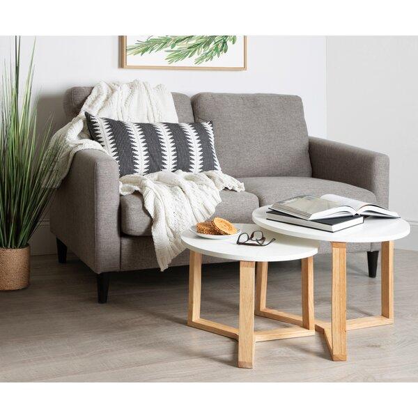 Home & Outdoor Mahalia Minimalist Wood 2 Piece Nesting Tables