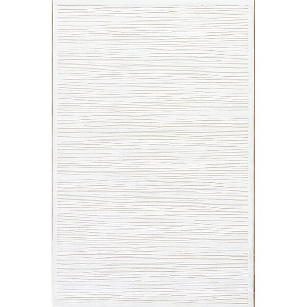 Ada Machine Woven Chenille White Area Rug by Charl