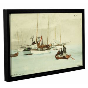 Schooners at Anchor Key West 1903 Framed Painting Print by Breakwater Bay