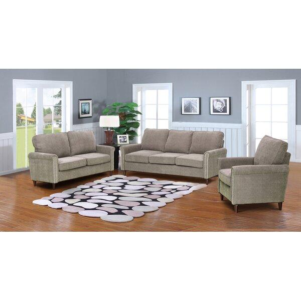 Hayton Fabric Modern 3 Piece Solid Living Room Set by Charlton Home