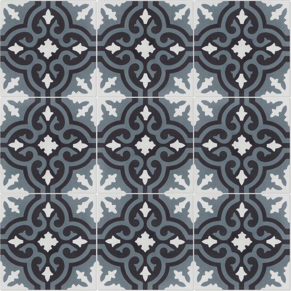 Fiore C Mountain 8 x 8 Cement Field Tile in Black/White by Villa Lagoon Tile