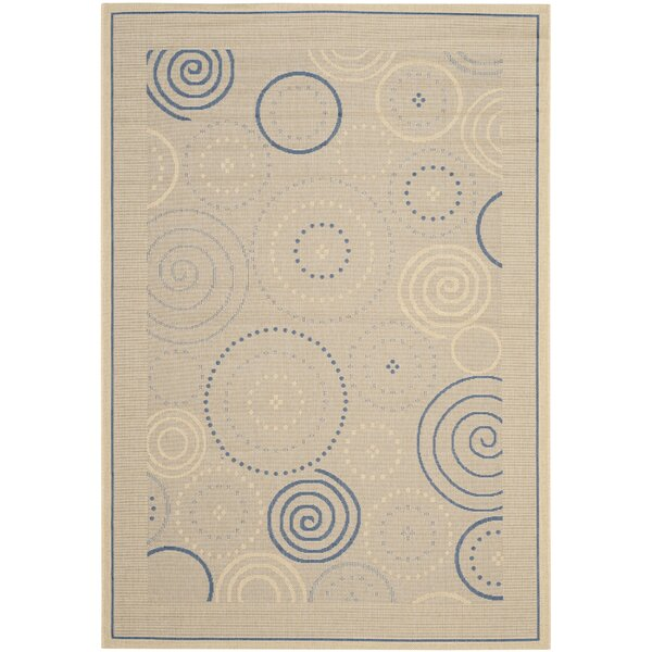 Mullen Circles Flatweave Tan/Black/Navy/Gray Indoor/Outdoor Area Rug by Ebern Designs