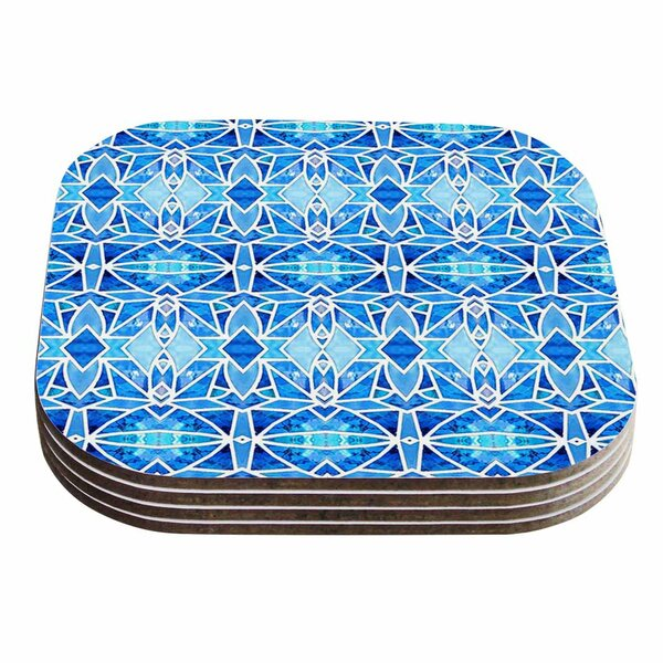 Blue Diamonds Aqua Coaster (Set of 4) by East Urban Home