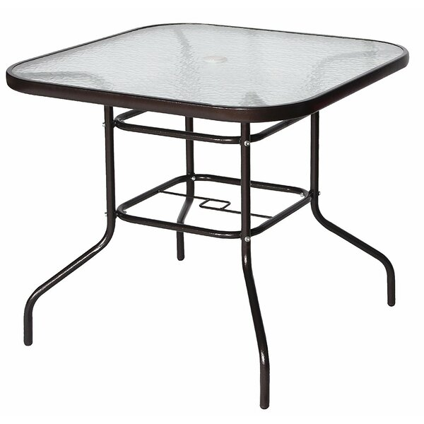 Courtois Outdoor Stainless Steel Dining Table by Fleur De Lis Living