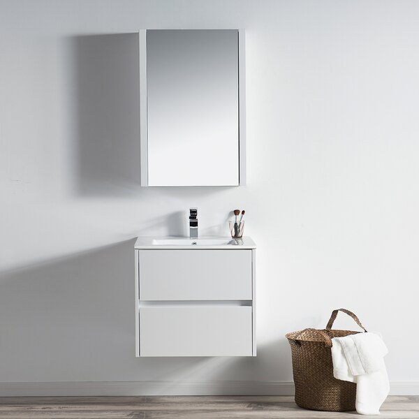 Oquendo 24 Wall-Mounted Single Bathroom Vanity Set with Medicine Cabinet by Orren Ellis