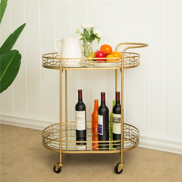 Horsforth Metal Mirrored Bar Cart By Everly Quinn